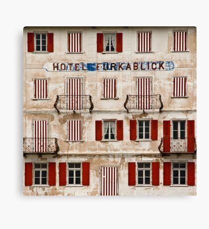 Hotel Furkablick facade Canvas Print