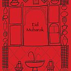 Moroccan Village Eid Illustration - Middle Eastern Card by springwoodbooks