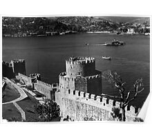 BW Turkey Istanbul Bosphorus fortress 1970s Poster