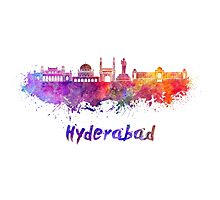 Hyderabad skyline in watercolor Photographic Print