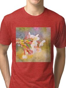 White Cherry Blossoms Digital Watercolor Painting 1 Tri-blend T-Shirt