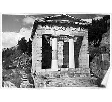 BW Greece Delphi Athenian Treasury 1970s Poster
