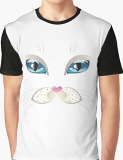 White Cat Face with Blue Eyes Graphic T-Shirt