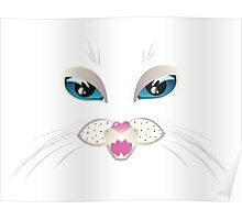 White Cat Face with Blue Eyes 4 Poster