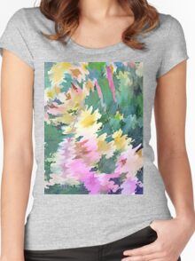 Welcome Spring Abstract Floral Digital Watercolor Painting 4 Women's Fitted Scoop T-Shirt
