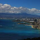 View of Waikiki Beach from top of Diamond Head State Monument by Adam Kuehl