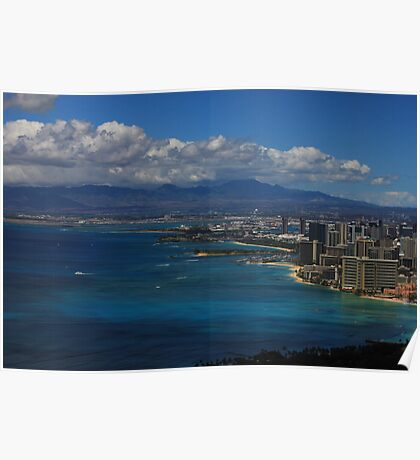 View of Waikiki Beach from top of Diamond Head State Monument Poster