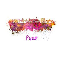 Pune skyline in watercolor Photographic Print
