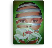 Surrealist Face, Spring and Flower Canvas Print