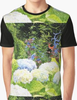 Garden with White Lavender Hydrangeas and Bluebells Graphic T-Shirt