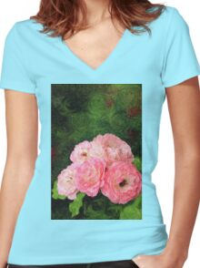 Pretty Pink Painterly Roses with Green Background Women's Fitted V-Neck T-Shirt