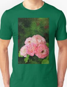 Pretty Pink Painterly Roses with Green Background T-Shirt