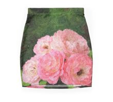 Pretty Pink Painterly Roses with Green Background Mini Skirt