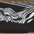 woman shadow nude stripes black white by addicted2joy