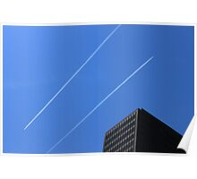 Jets crisscrossing in the downtown Chicago Sky Poster