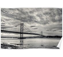 Forth Road Bridge Black & White Poster