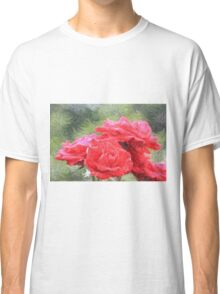 Painterly Red English Roses with Green Swirls Classic T-Shirt