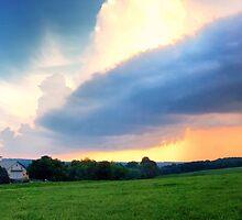 Barn and Sky Pano by KellyHeaton