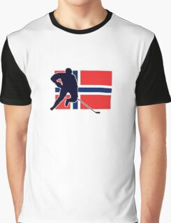I Love Norge - Norway National Flag & Hockey Player Skjorte Graphic T-Shirt