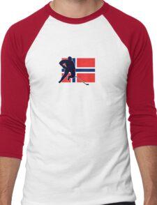 I Love Norge - Norway National Flag & Hockey Player Skjorte Men's Baseball ¾ T-Shirt