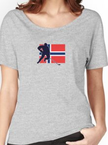I Love Norge - Norway National Flag & Hockey Player Skjorte Women's Relaxed Fit T-Shirt