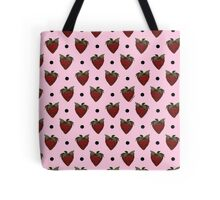 Strawberries and Black Polka Dots with Light Pink Background Tote Bag
