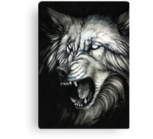 Snarling white ghost wolf Canvas Print