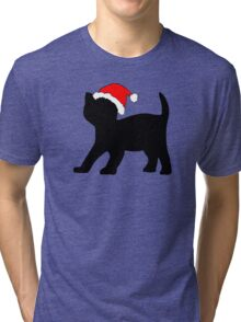 Kitten in a Santa Hat Tri-blend T-Shirt