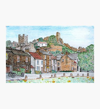 Graphite and Coloured Pencil Drawing of  Richmond, Yorkshire  Photographic Print