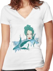 Woman of the Sea  Women's Fitted V-Neck T-Shirt