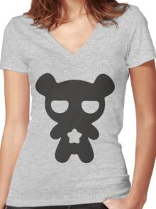 Lazy Bear B&W Women's Fitted V-Neck T-Shirt