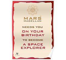 Mars Magellan Space Explorer Birthday Card Poster