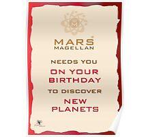 Mars Magellan New Planets Birthday Card Poster
