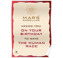 Mars Magellan Save The Human Race Birthday Card Poster