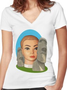 head of easter island Women's Fitted V-Neck T-Shirt