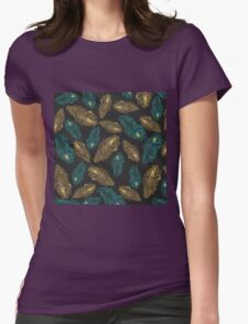 Elegant trendy peacock feathers pattern Womens Fitted T-Shirt