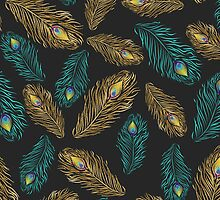 Elegant trendy peacock feathers pattern by InovArtS