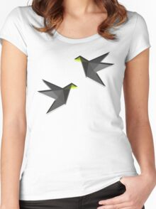 Black and White Paper Cranes Women's Fitted Scoop T-Shirt