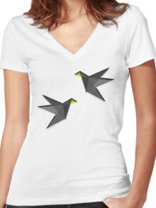 Black and White Paper Cranes Women's Fitted V-Neck T-Shirt