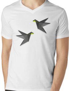 Black and White Paper Cranes Mens V-Neck T-Shirt