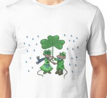 St Patricks Mice under Shamrock Unisex T-Shirt