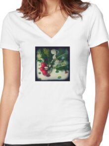 Holly berries Women's Fitted V-Neck T-Shirt