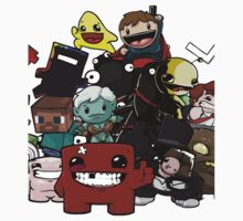 All Character Steam Super Meat boy edition One Piece - Short Sleeve