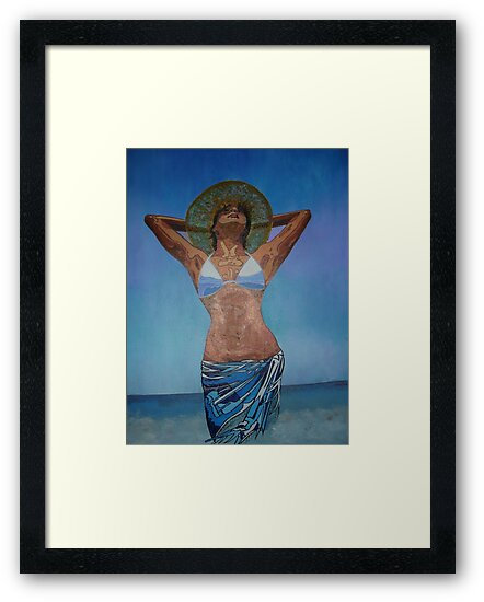 Woman Wearing Hat And Sarong  Enjoying Summer by taiche