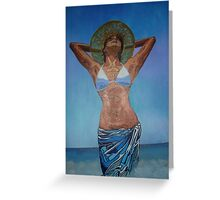 Woman Wearing Hat And Sarong  Enjoying Summer Greeting Card