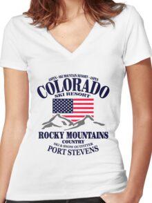 Aspen - Colorado ski resort Women's Fitted V-Neck T-Shirt