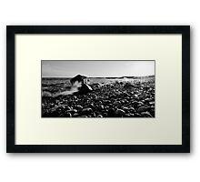 Black and White Wave Crash Framed Print