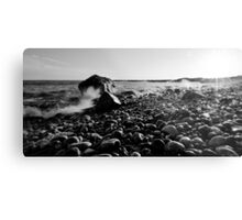 Black and White Wave Crash Metal Print