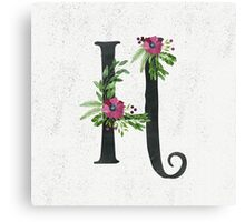 Monogram H with Floral Wreaths Canvas Print
