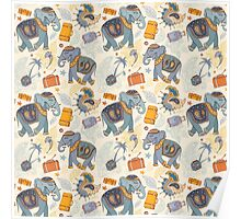 Colorful Tribal Paisley Elephant Pattern Poster